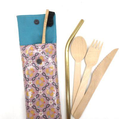 Etui à couverts/brosse à dents- fleurs violettes