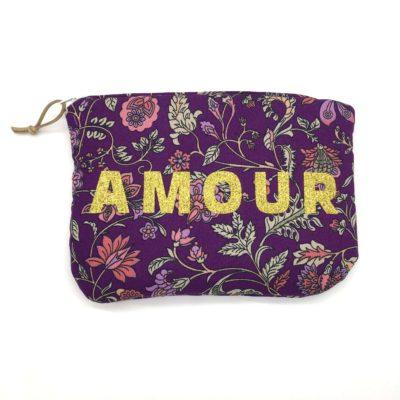 Pochette molletonnée, fleurs romantiques-violet