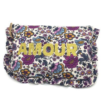 Pochette à froufrous, fleurs violettes